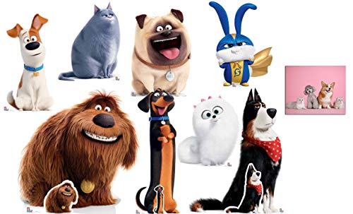 The Secret Life of Pets 2 Official Cardboard Cutout/Standup Collection - Set of 8 Fan Pack, Includes Free Mini Cutouts for Buddy, Rooster and Duke and 8x10 Photo