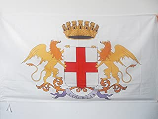 AZ FLAG City of Genoa Coat of arms Flag 3' x 5' for a Pole - Genova Flags 90 x 150 cm - Banner 3x5 ft with Hole