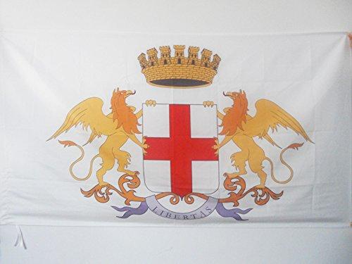 AZ FLAG Bandiera Città di Genova con Stemma 150x90cm - Bandiera Genoa con Blasone 90 x 150 cm Foro per Asta