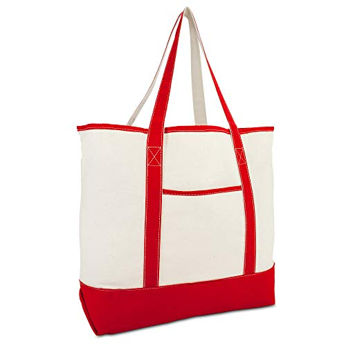 "DALIX 22"" Extra Large Shopping Tote Bag w Outer Pocket in Red and Natural"