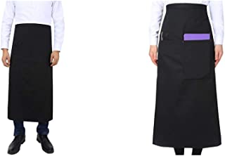 O&O Full Bistro Apron Half Apron with Two Large Pocket & Pen Holder,Chef's Apron for Men and Women,33X30inch (Black)
