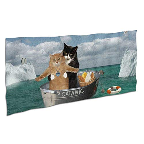 Badetücher Waschlappen für zu Hause, Pool Salon - Lustige Catanic Cats Titanic Cosplay Handtücher, Dusche Badetuch Badetuch