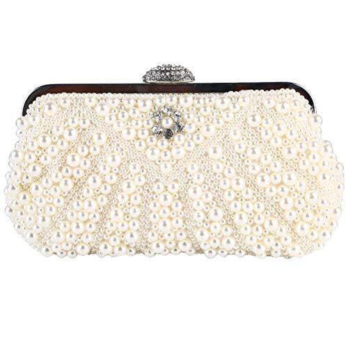 TENDYCOCO Bolso de Noche de Bolso de Abalorios con Perlas de imitación de Perlas de imitación a Mano Noble (Beige)
