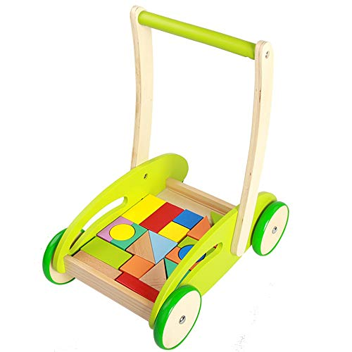 Best Review Of Baby First Steps Activity Walker Wood Colorful Blocks Baby Push Walker Rollover Preve...