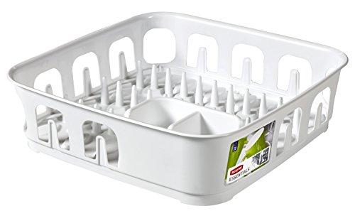CURVER | Egouttoir essentials carré 12 assiettes, Blanc, Sink Top, 39,1x39,1x10,9 cm