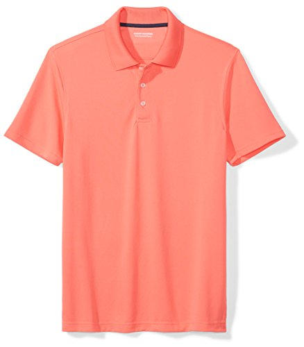 Amazon Essentials Men's Slim-Fit Quick-Dry Golf Polo Shirt, Coral, Small