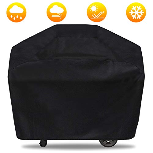 58 inch Grill Cover, Waterproof BBQ Grill Cover, Durable Large Gas Grill Cover 3-4 Burner For Weber, Brinkmann, Char Broil, Jenn Air - Outdoor Gas Grill Burner Covers - UV Resistant - Rip Proof, Black