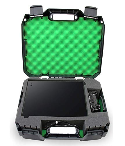 Casematix Green Travel Case Compatible with Xbox One X 1TB Enhanced 4k HDR Gaming Console, Controller, Cables and Games with Impact Resistant Shell