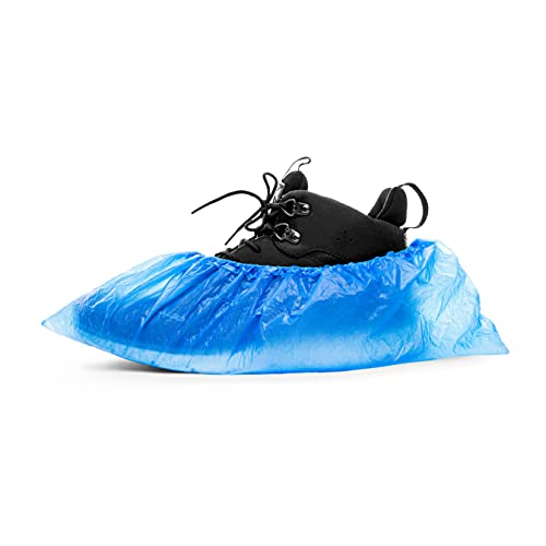 STANDART CPE-Überschuhe von ASPRO 2,5 g Einweg-Schuhüberzieher Schutz - Packung mit 100 Stück - wasserdicht- Einheitsgröße - Blau
