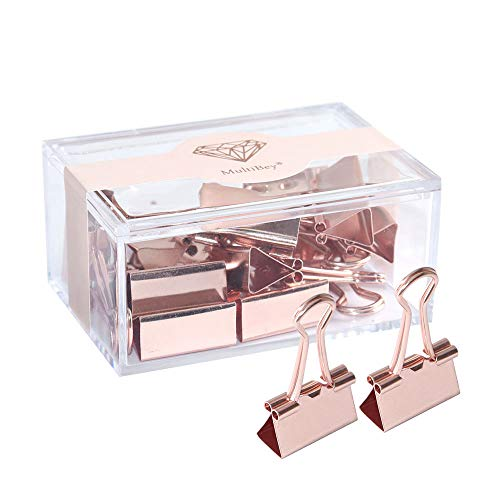 1 Inch Rose Gold Large Binder Clips Big Paper Tickets Clamp in Reusable Binder Clip Holder Office Supplies for Women, 12PCS Per Box (Rose Gold 25mm)