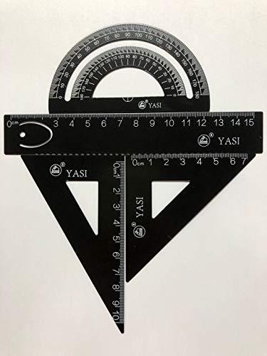 4 Piezas Matemáticas Geometría Herramienta Aleación De Aluminio Triángulo Regla Conjunto Cuadrado, Suministros De Estudiante Conjunto De Dibujo Que Incluye Transportador