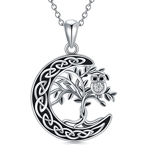 Flpruy Tree of Life Crescent Necklace Celtic Knot Moon Pendant 925 Sterling Silver Owl Dainty Necklace for Women