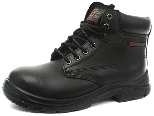 MENS GRAFTERS BLACK LEATHER WIDE FITTING SAFETY WORK BOOTS SIZE 6–13 M9503A (UK10.5/EU45)
