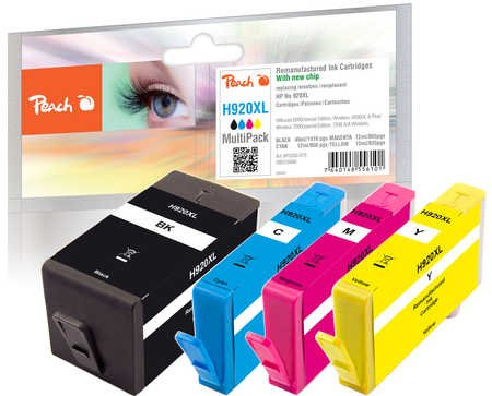 Peach H920XL bk, c, m, y Spar Pack Druckerpatronen mit Chip kompatibel, HP Nummer 920XL