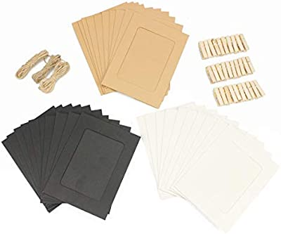 Hanging Photo Decoration Kit 7 Photo Clip Paper Frame w// Jute Twine 3x5 or 4x6