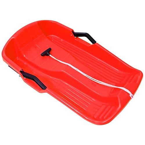 Fortn Trineo de Nieve de plástico Trineo de Deslizamiento de Nieve Duradero para niños Adultos con 2 Asas y Cuerda de tracción Trineo de Nieve de 25'de Largo
