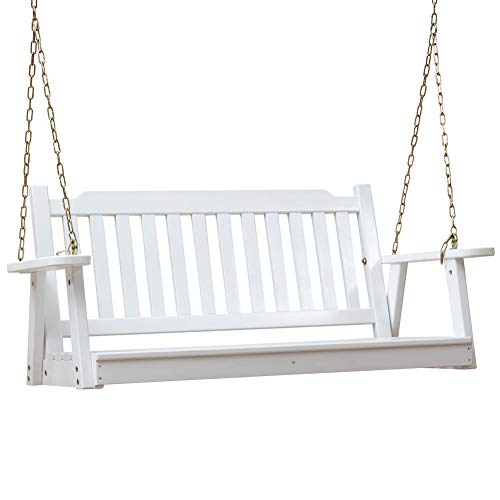 Anjor Heavy Duty Front Porch Swing Seat with Hanging Chains Wood Outdoor 4 Ft, White