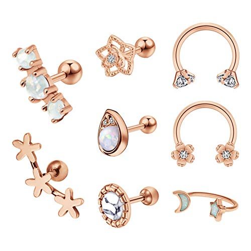 Mayhoop 8 Pcs Tragus Bars Helix Earrings Ear Studs 16G Stainless Steel Rosegold Flower Opal Horseshoe Ring Cartilage Earrings Piercing Jewelry