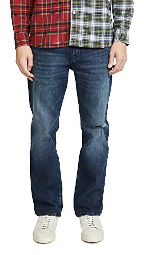 Calvin Klein Men's Relaxed Straight Jeans, Electric Blue Black, 42W x 32L