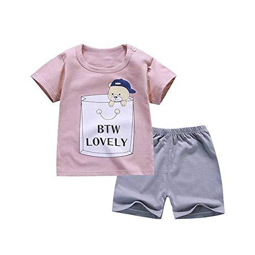 Fansu Pijamas Enteros de Manga Corta para Niños, Pijamas Dos Piezas Bebé Niña Verano Algodón Juego de Pijama Camisetas Pantalones Estampado Animal Carta (Moda Rosa,80cm(9-18 Meses))
