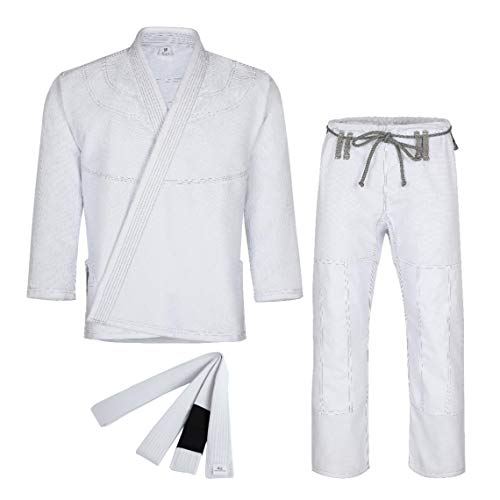 Knockout Fight Gear Brazilian Jiu Jitsu Gi for Men & Women Uniform Kimonos Medium Weight, Preshrunk with Free White Belt (A0, White)
