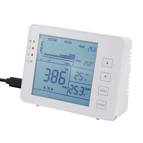 LogiLink SC0115 - CO2-Messgerät (CO2-Konzentration 5000-ppm-Bereich) mit Ampel & Alarm für bessere Luftqualität, Temperatur- & Luftfeuchtigkeitsanzeige, weiß