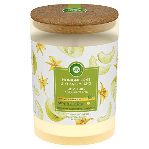 Air Wick Duft-Stimmungskerze – Duft: Honigmelone & Ylang-Ylang – Mit Deckel aus Kork für langanhaltende Frische – 1 x Duftkerze in weiß
