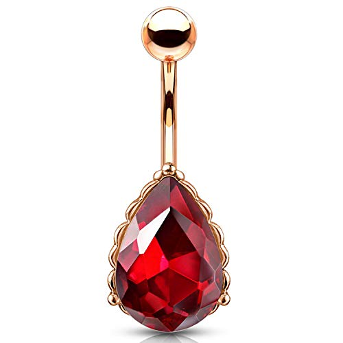 BodyJ4You Belly Button Ring Tear Drop Large Red Crystal 14G Heart Filigree...