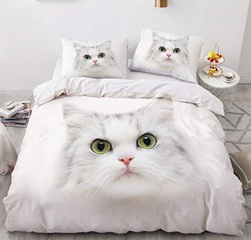 RTSE Bettbezug, Tiere, Katzen, Igel, Bettwäsche, Bettbezug, 3D-Druck, Mikrofaser, weich und bequem, für Kinder und Jugendliche (135 x 200 cm)