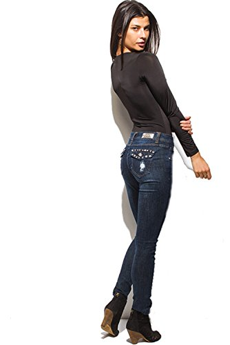 Cest Toi Women's Denim Distressed Embellished Mid Rise Skinny Jeans (1)