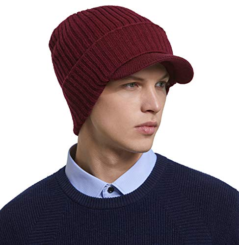 RIONA Soild para Hombre 100% Australiano Merino Wool Knit Visor Beanie Hat Visor Warm Skull Caps Headwear