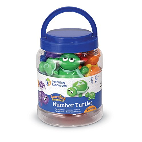 Learning Resources Number Turtles Set, Fine Motor Tools for Toddlers, Counting, Color & Sorting Toy, 15 Pieces, Ages 2+