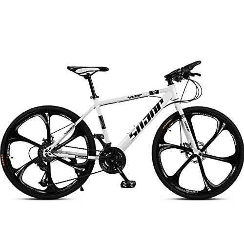 PBTRM 26 Pulgadas 27 Velocidades Bicicleta Ciudad Carretera Bicicleta Montaña Freno Disco Doble para Hombres Y Mujeres,Blanco