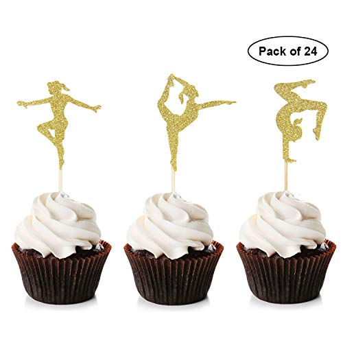 Unimall 24 Stück Gold Glitter Gymnastik Cupcake Toppers Turnerin Mädchen Babyparty Themed Party Supplies Food Cake Picks