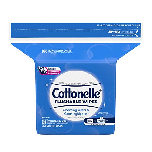 Cottonelle Flushable Wet Wipes for Adults, 1 Refill Pack, 168 Flushable Wipes, Alcohol-Free