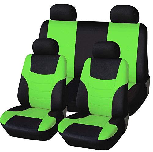 Veshow Juego completo de fundas de asiento de coche para asiento de coche y reposacabezas accesorios automotrices Interior-4 piezas, verde
