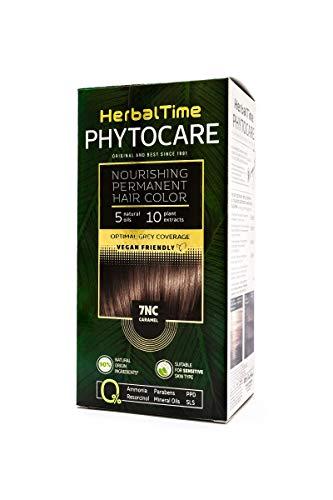 Permanenter und pflegender Haarfarbstoff ohne Ammoniak, ohne PPD, ohne SLS, ohne Parabene Farbe 7NC Karamell