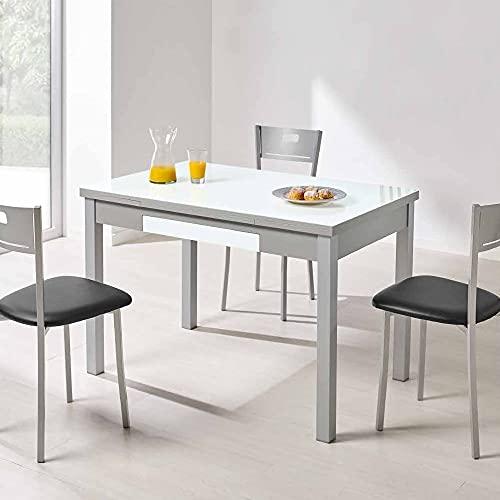 fanmuebles - Mesa de Cocina Cristal Blanco óptico Extensible Alba - 90 x 50 cm