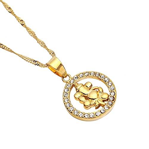 xtszlfj Colgante de Collar de Oro para Mujer niña Colgante de Encanto de Yoga Indio hindú Budista hindú AUM OM India joyería de religión