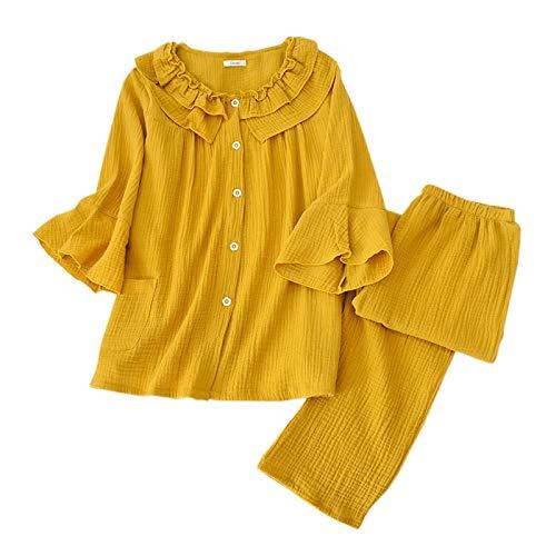 LEYUANA Conjunto de Pijama de Cuello de muñeca Lindo para Mujer, Ropa de Dormir de algodón crepé, Pijama de Manga Larga de Dibujos Animados Dulce Simple para Mujer, L Amarillo