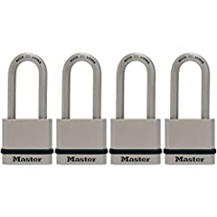 Indoor and outdoor padlock; maximum security lock with Tough-Cut octagonal boron-carbide shackle; best used for residential gates & fences, sheds, workshops & garages, storage lockers, tool boxes and more Lock is constructed with solid steel for incr...