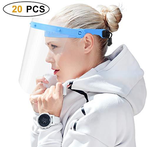 DISEN 20 Stück Gesichtsschutz Visier, Anti Fog Schutzvisier Face Shield mit 2 Halterung Augenschutz Schutzschild Gesichtsschutzschild Spuck-Schutz Gesichtsvisier für Männer Frauen