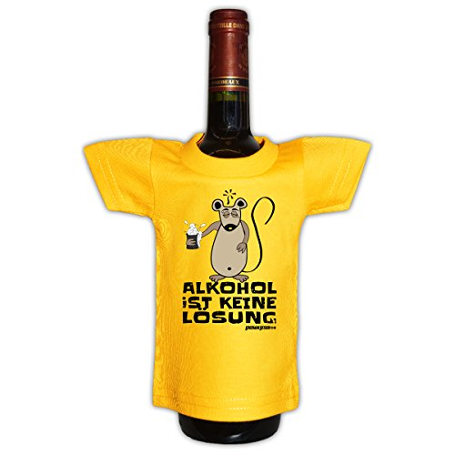 Goodman Design Originelle Flaschenverpackung - Alkohol ist Keine Lösung - Mini T-Shirt als Geschenkverpackung!