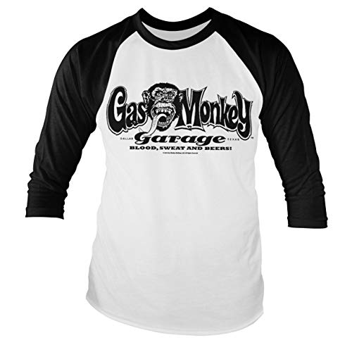 Gas Monkey Garage Oficialmente Licenciado Logo Baseball (Slim fit) Manga Larga Camiseta (Blanco/Negro), XX-Large