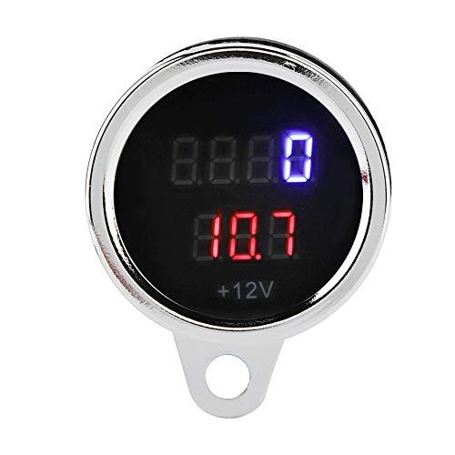 12V DC Motorrad Drehzahlmesser 2 in 1 LED Digital Voltmeter Drehzahlmesser Metall Kilometerzähler Tachometer Universal für alle Motorradtypen