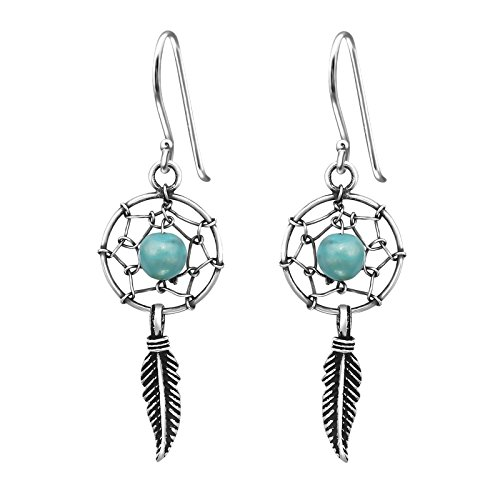 Turquoise Single Dream Catcher Sterling Silver Drop Earrings 25MM