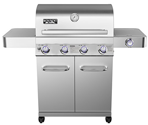 Monument Stainless Steel 4 Burner Propane Gas Grill with Rotisserie