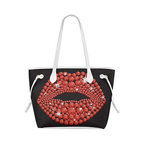 Plsdx Bolso de hombro de oficina de lujo Diamond Lip Kiss Me Work Tote Bag Bolso de mujer de gran capacidad Resistente al agua con asa duradera