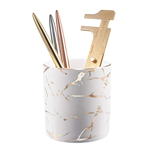 Zodaca Pen Holder, Ceramic Marble Pencil Cup Desk Organizer Makeup Brushes Holder with Gold Accent, White Golden