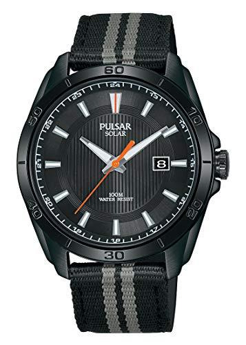 Pulsar Sport Herren-Uhr Solar Edelstahl mit Textilband PX3179X1